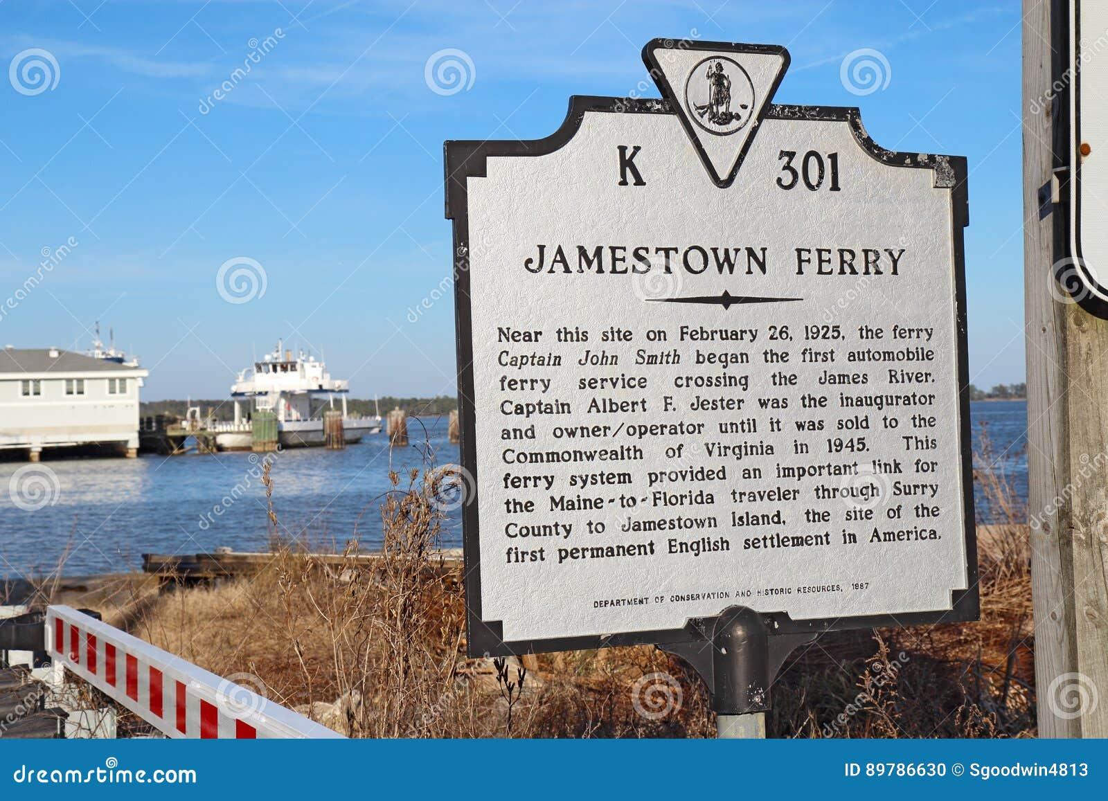 Sinal para a balsa de Jamestown de Surrey, Virgínia