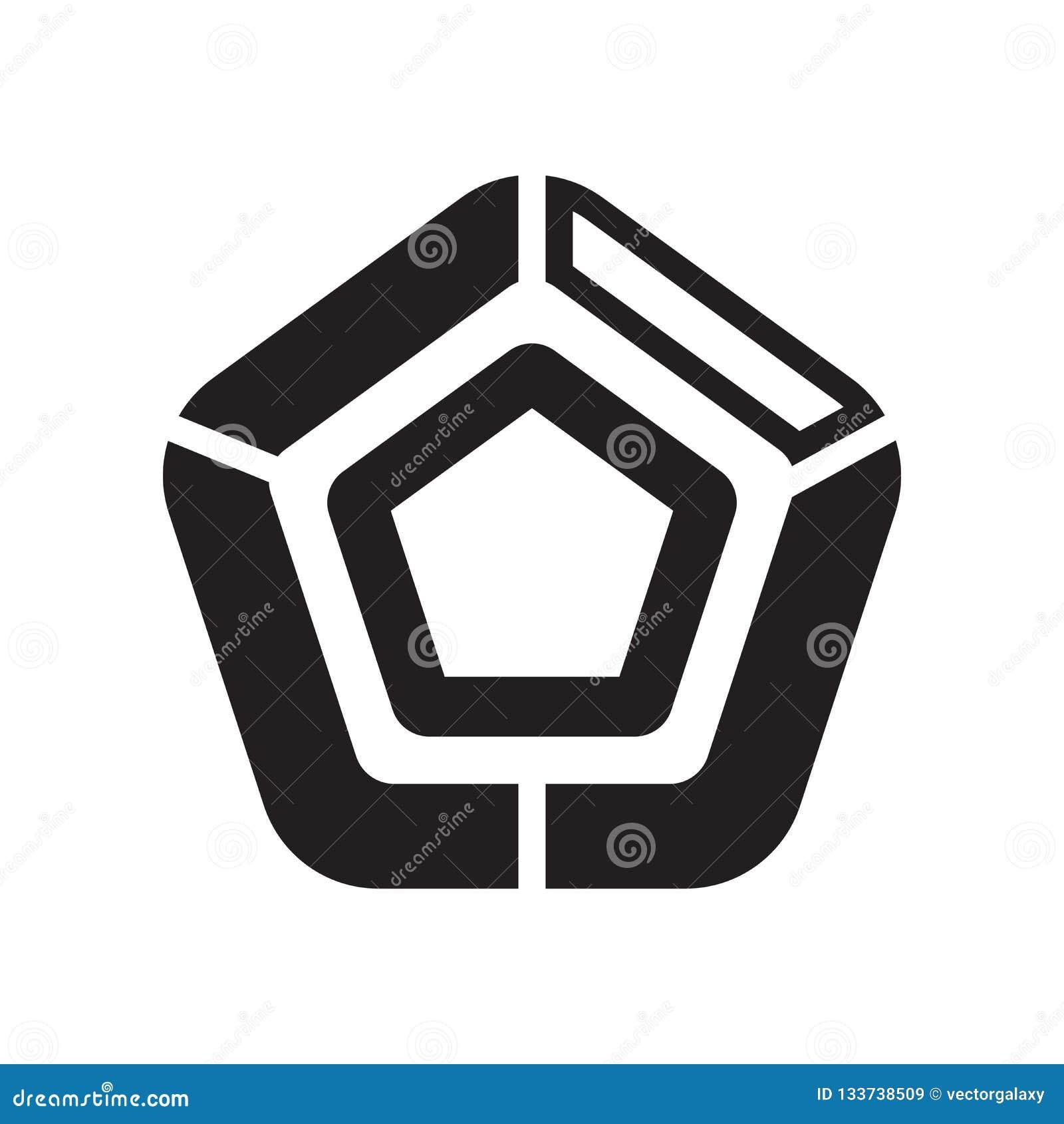 Sinal pentagonal e símbolo do vetor do ícone da carta isolados em b branco