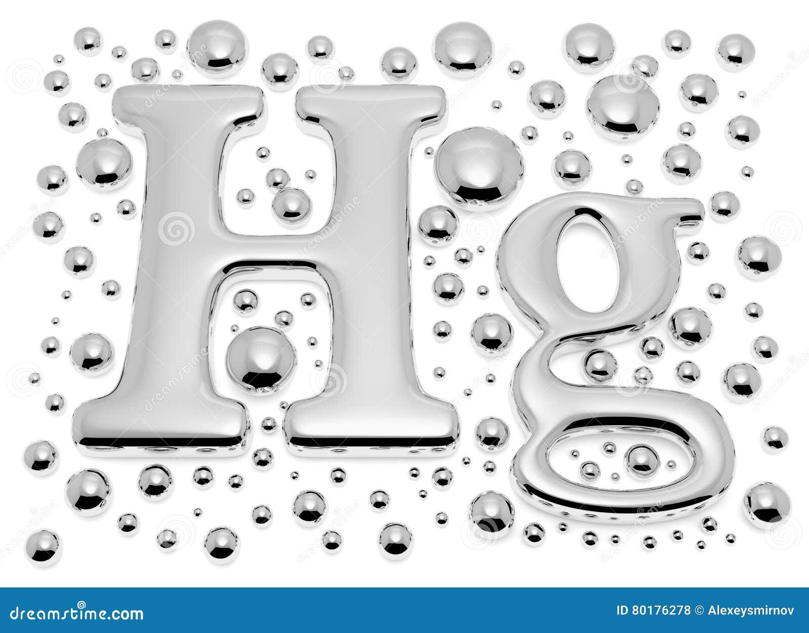 Sinal pequeno do metal do hectograma do mercúrio com gotas pequenas