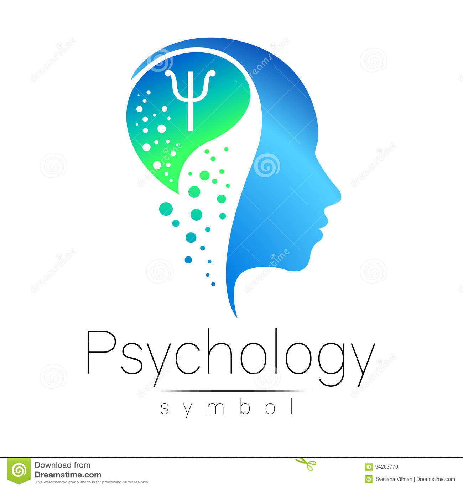 Sinal principal moderno da psicologia Ser humano do perfil Letra libra por polegada quadrada Estilo creativo Símbolo no vetor Con