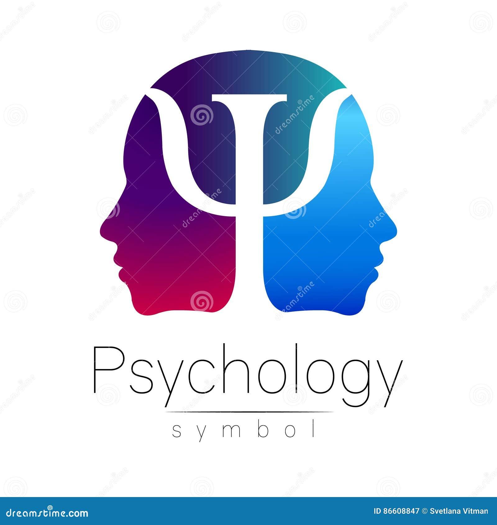 Sinal principal moderno da psicologia Ser humano do perfil Letra libra por polegada quadrada Estilo creativo Símbolo no vetor Cor