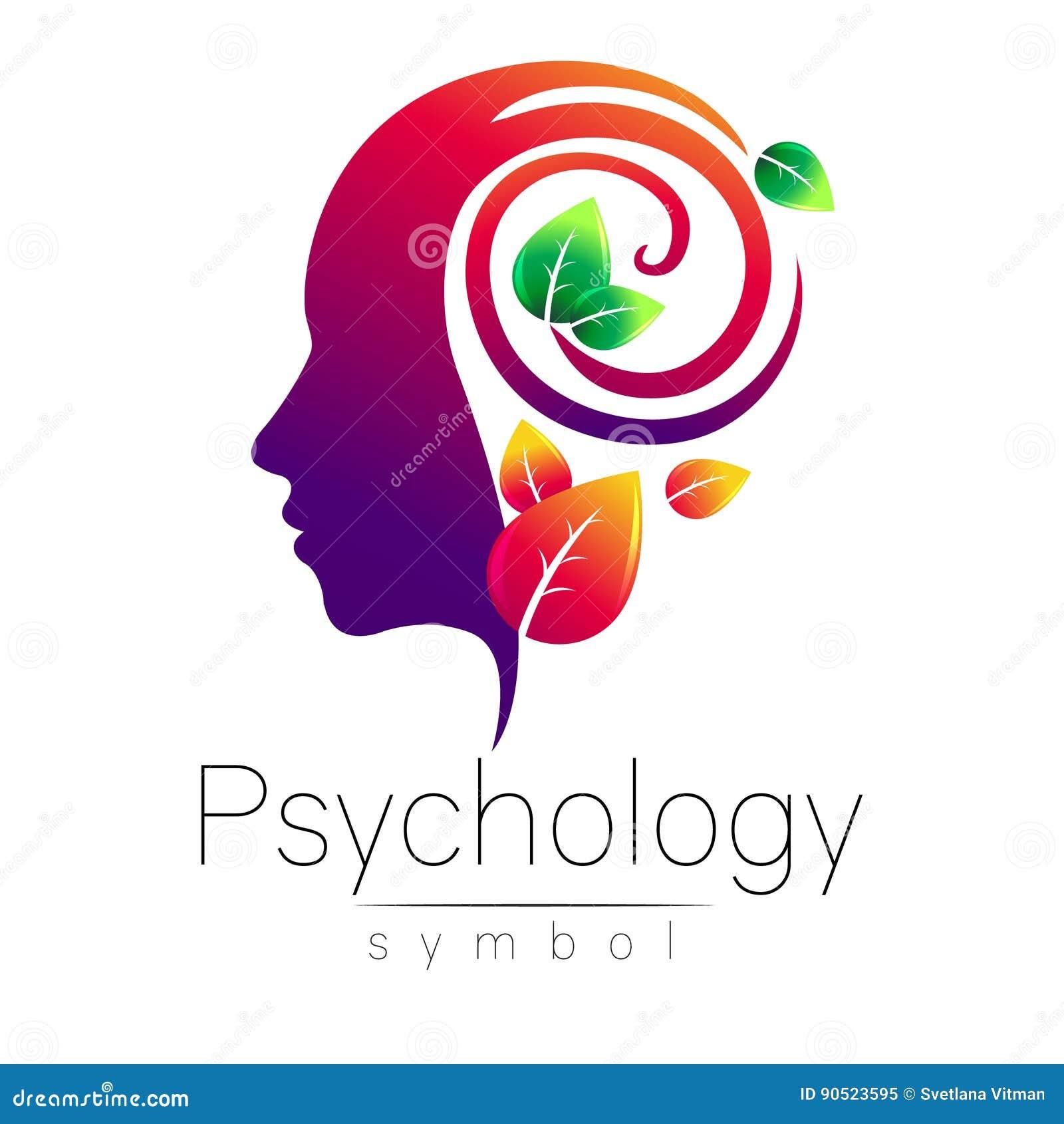 Sinal principal moderno do logotipo da psicologia Ser humano do perfil folhas do verde Estilo creativo Símbolo no vetor Conceito