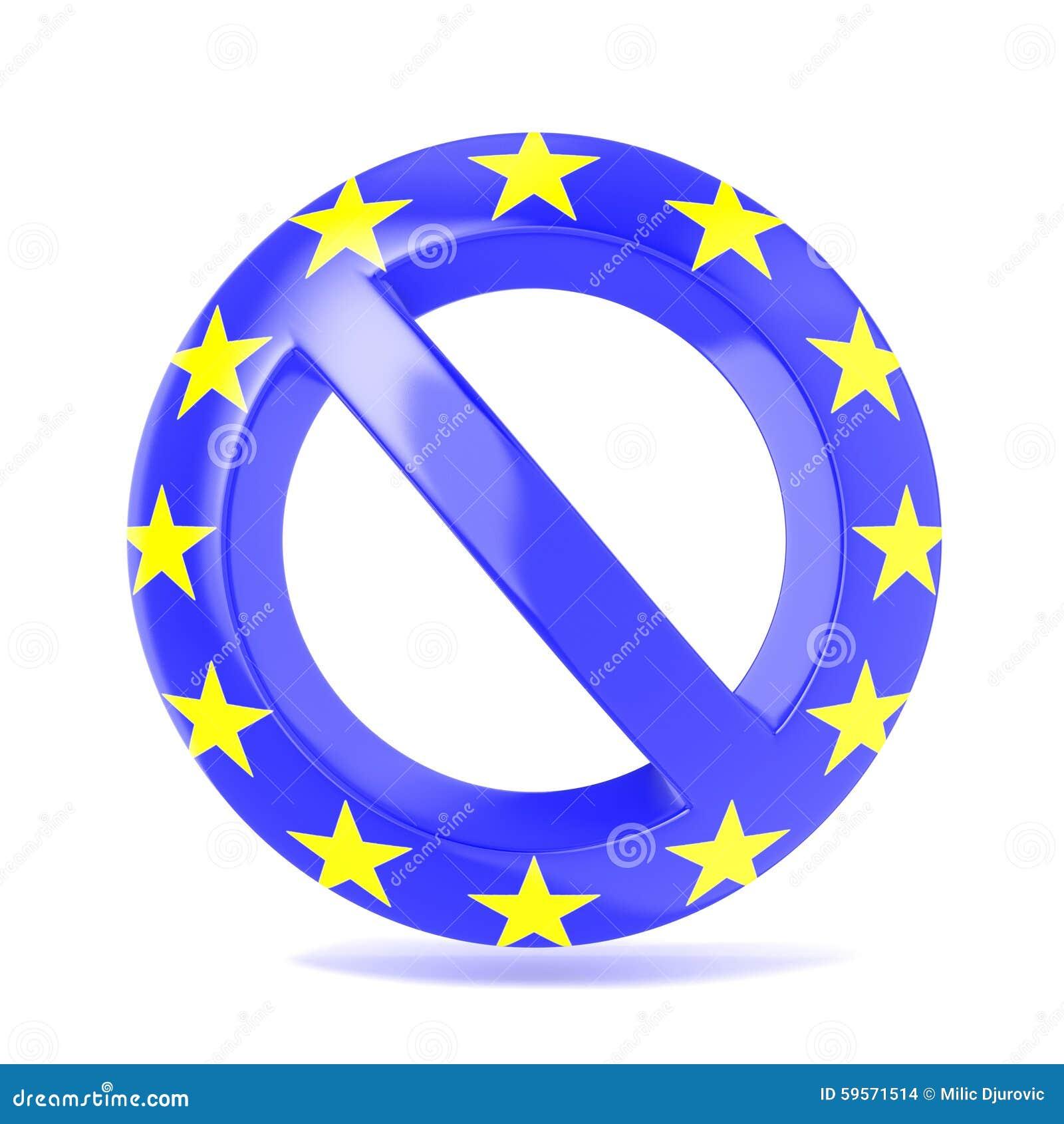 Sinal proibido com bandeira da UE 3d rendem