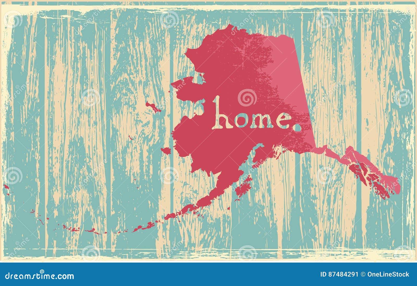 Sinal rústico nostálgico do vetor de estado do vintage de Alaska