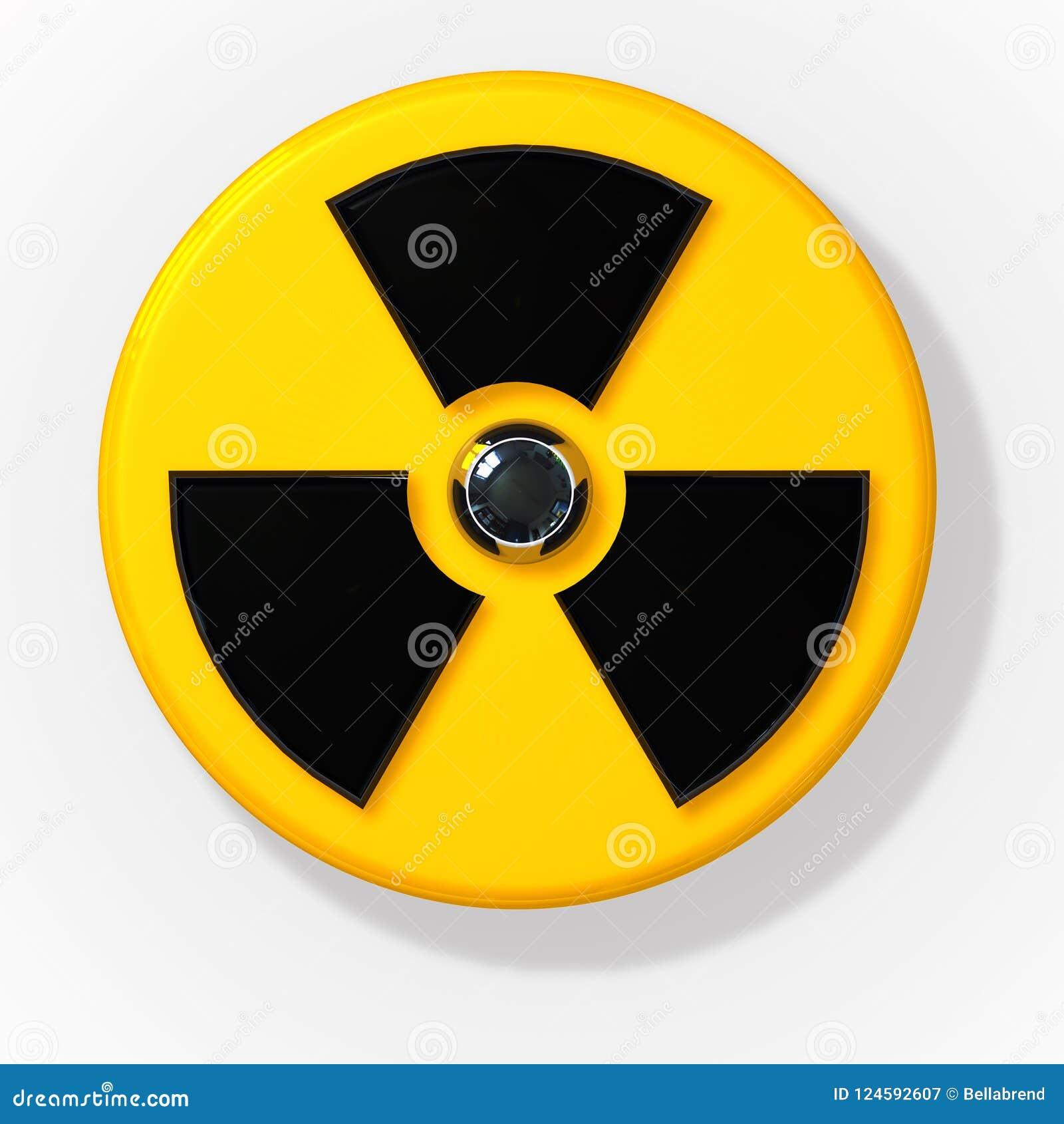 Sinal radioativo nuclear da radiação 3D