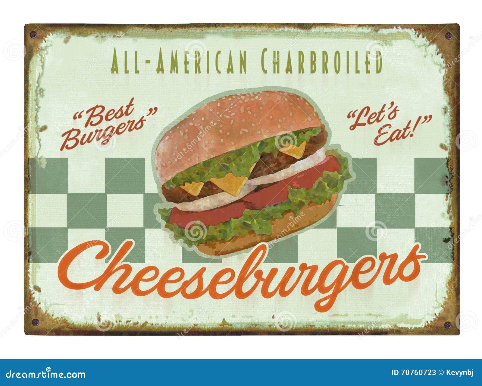 Sinal retro do cartaz do hamburguer