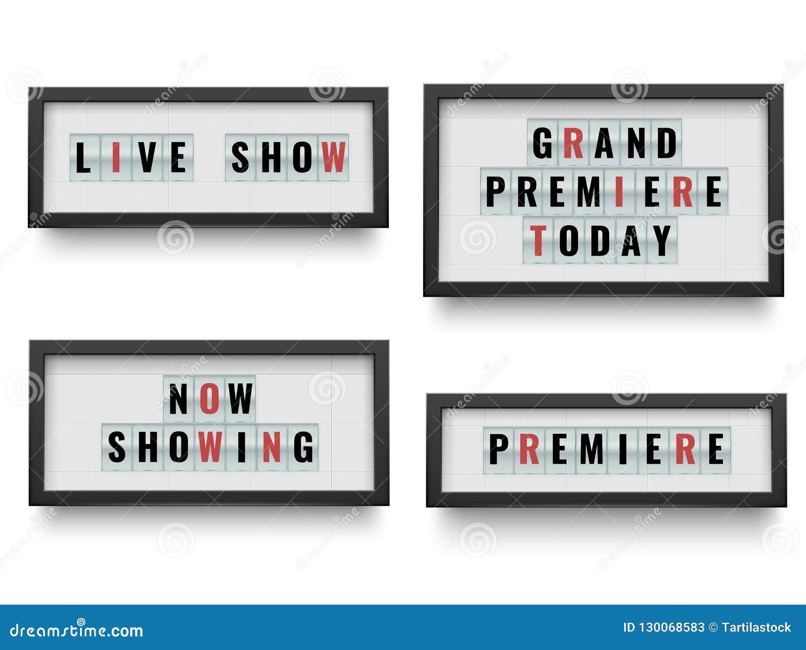 Sinal retro do lightbox Anunciando o quadro de avisos da caixa leve para o filme ou o teatro para anunciar Jogo da ilustração do