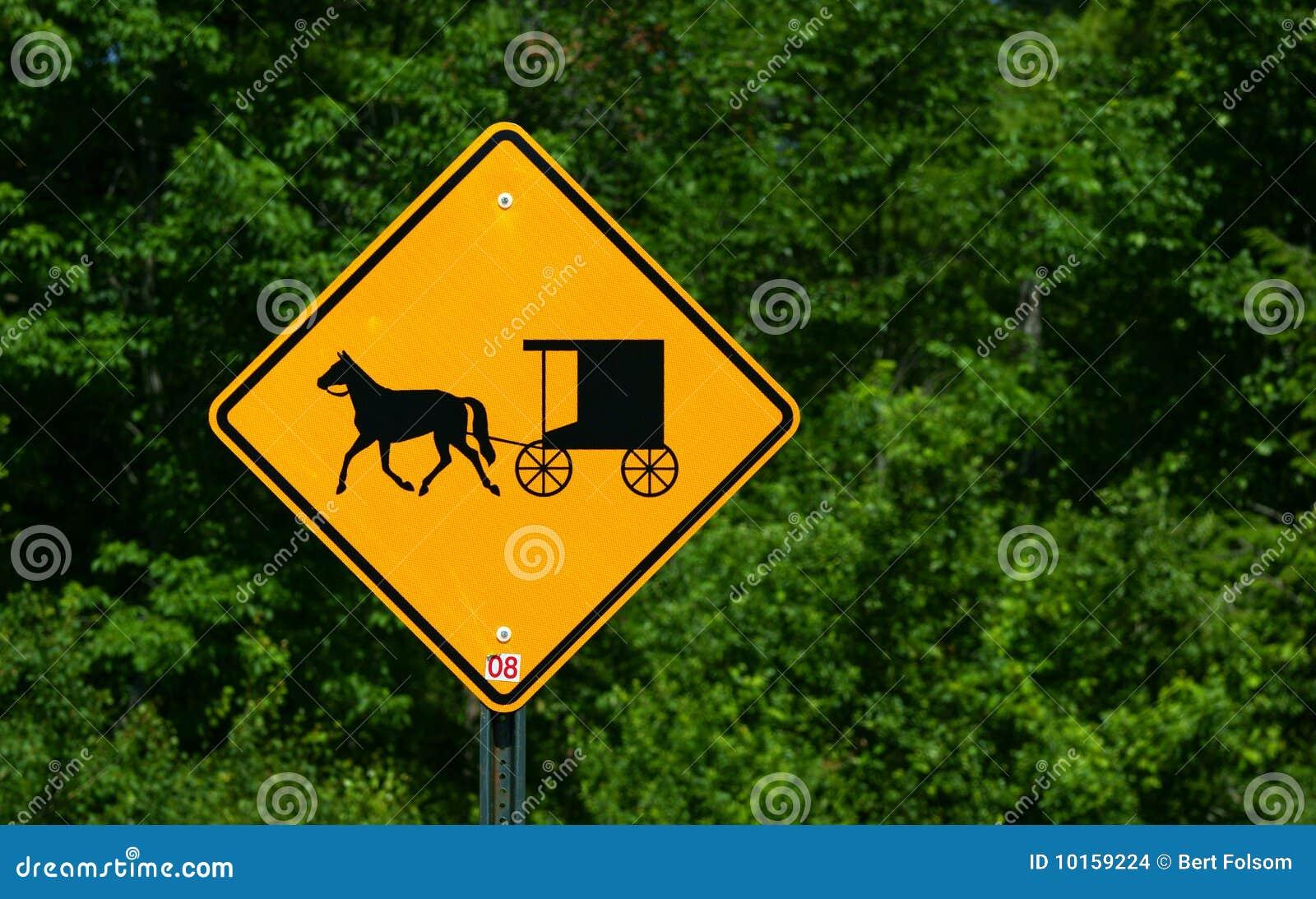 Sinal rural do cavalo e do buggy