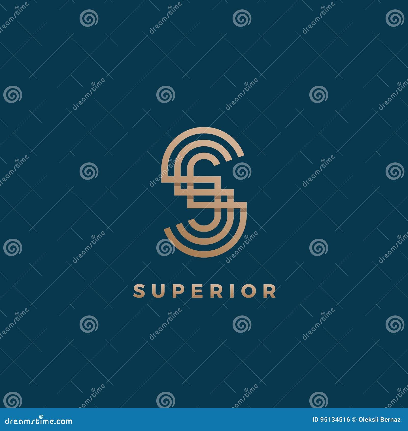 Sinal, símbolo ou Logo Template mínimo geométrico abstrato do vetor Monograma moderno da letra de S Inclinação dourado isolado so