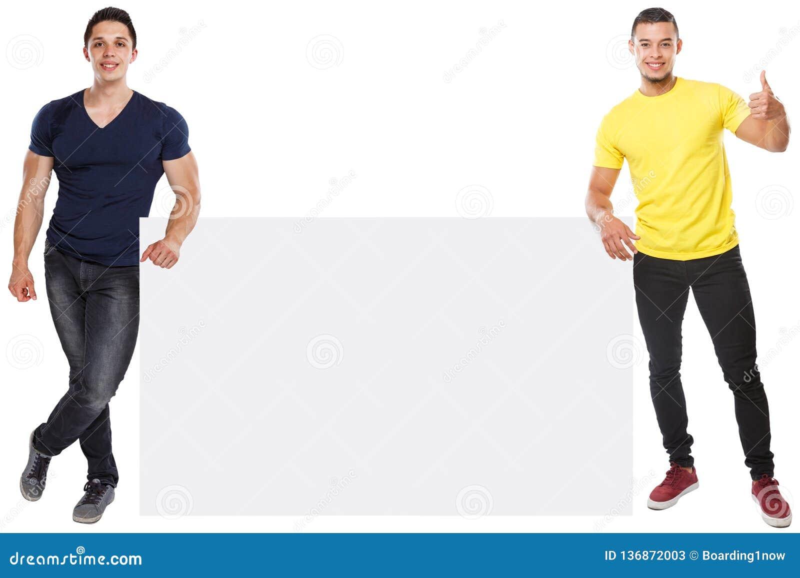 Sinal vazio vazio de mercado do anúncio do anúncio do copyspace bem sucedido muscular do sucesso dos homens novos isolado no bran