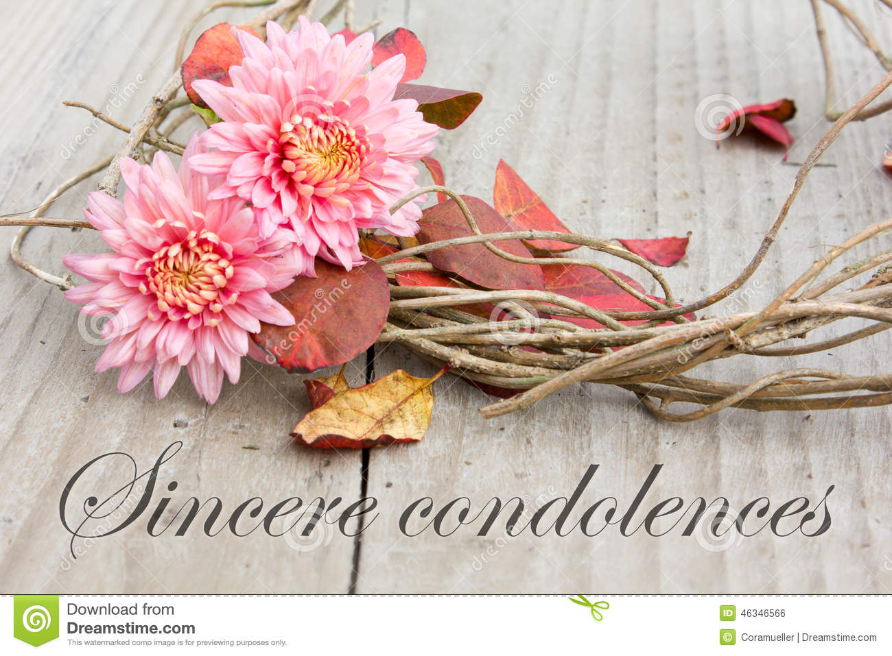 Sincere Condolences Stock Photo - Image: 46346566