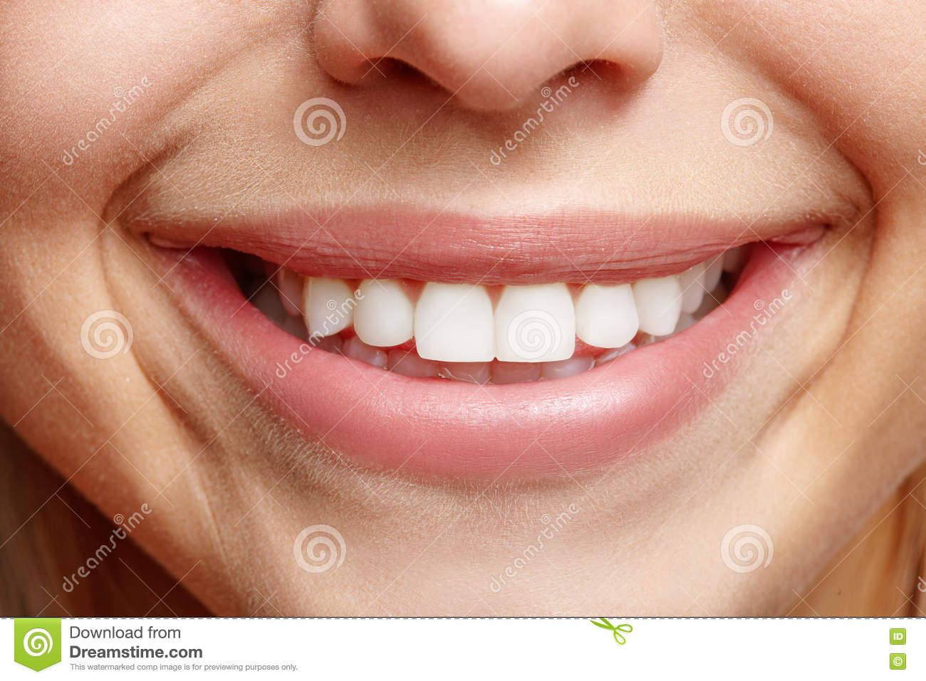 Sincere wide smile girls closeup. White teeth