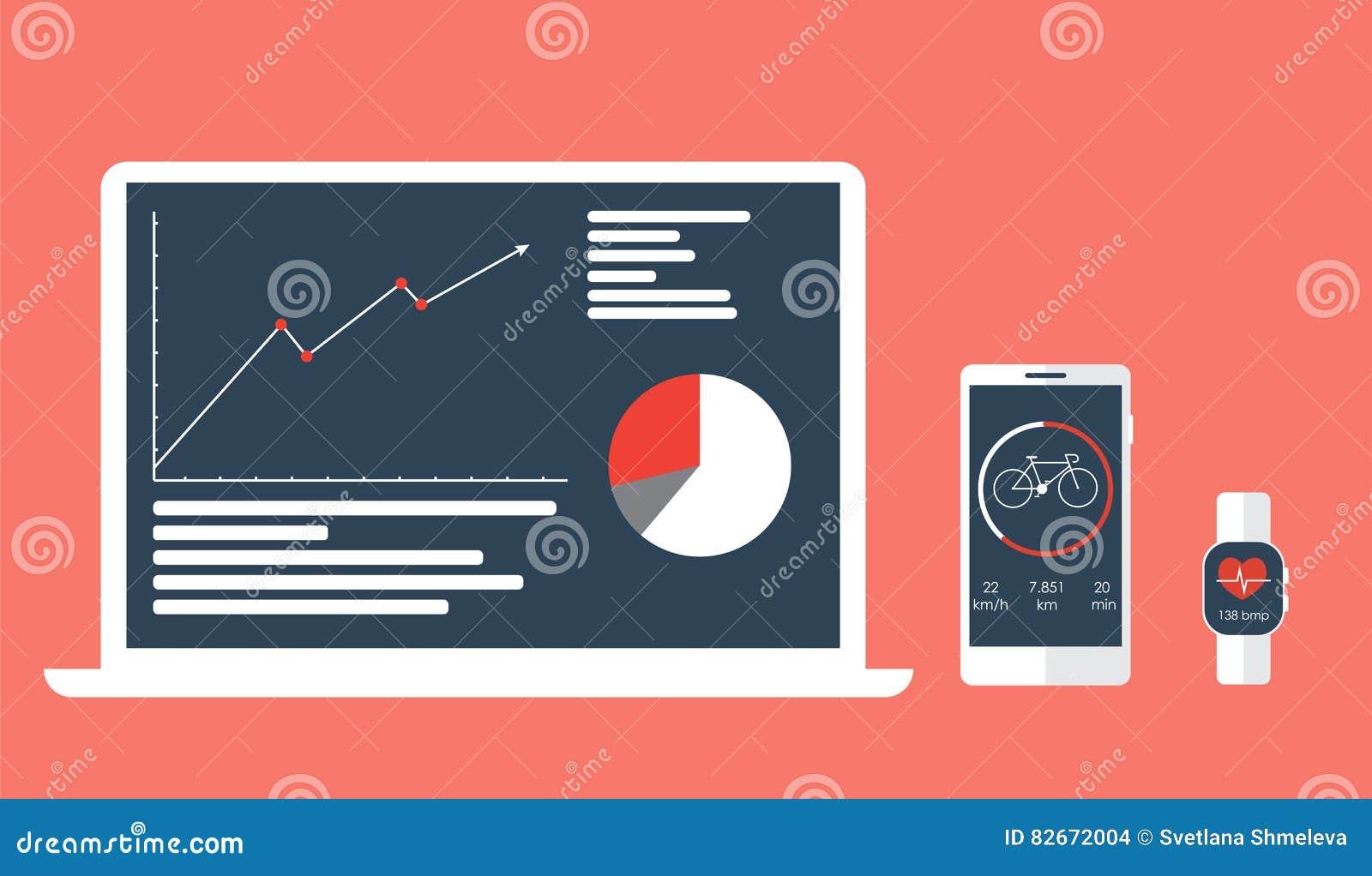 Sincronização do app dos esportes em dispositivos e em sucesso do seguimento da dinâmica
