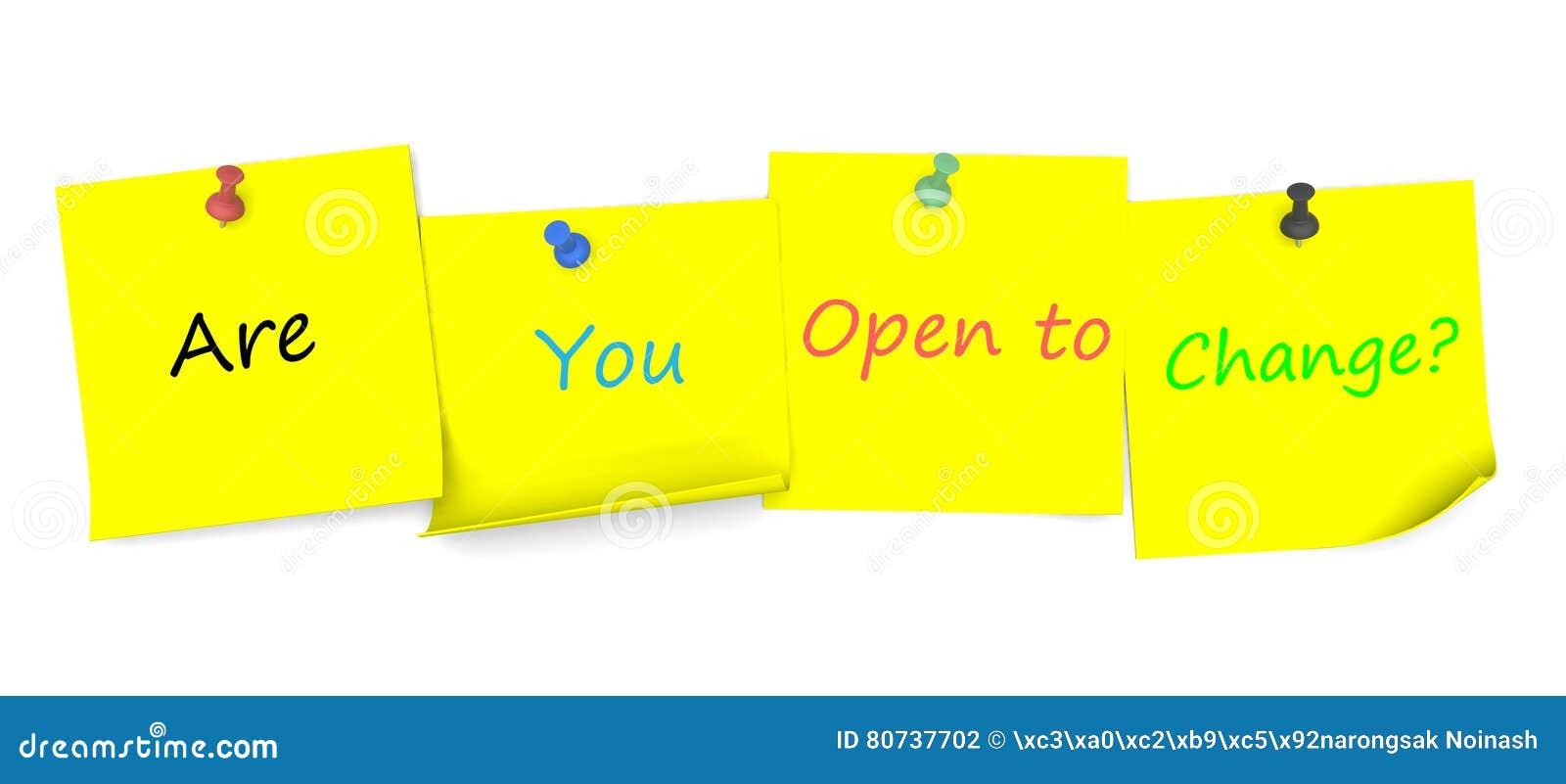 Sind Sie sich öffnen zur Änderung, Mitteilung auf Briefpapier mit Stift