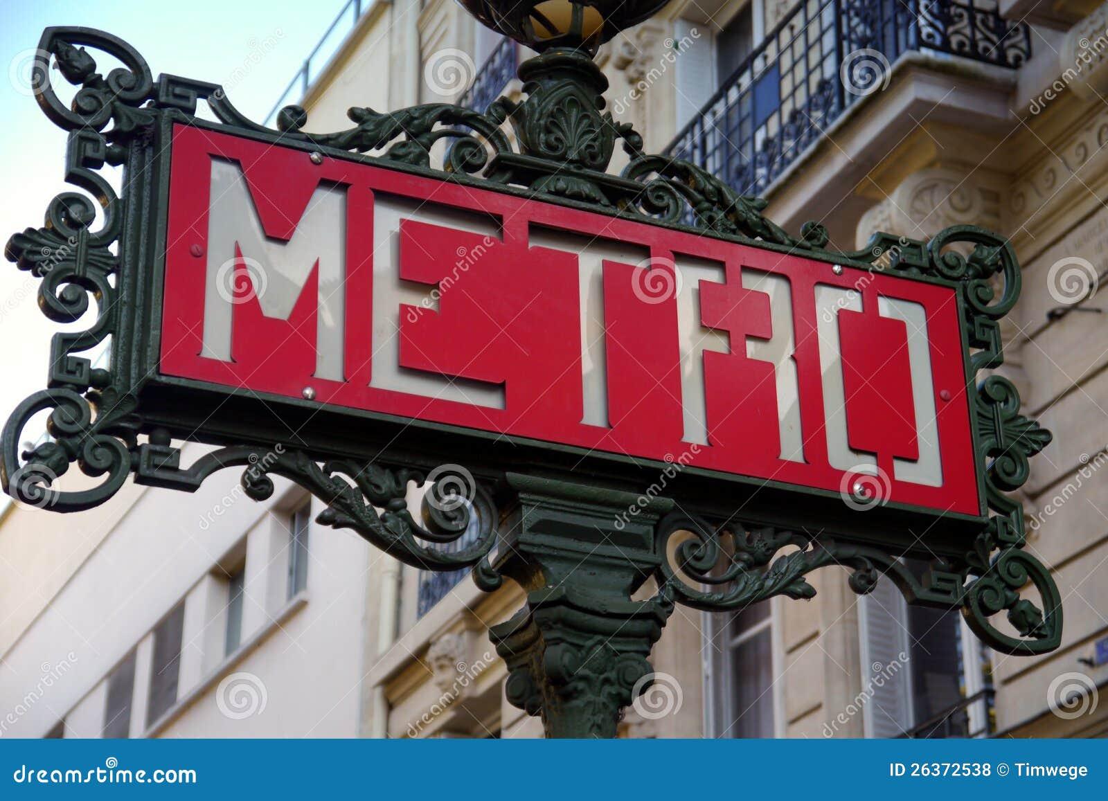 Sing of paris metro
