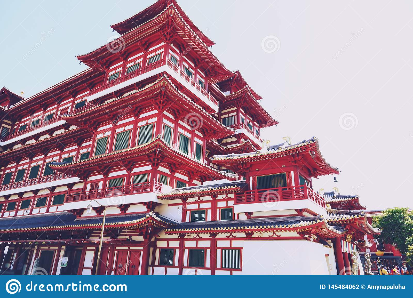 Singapore - April 07, 2019: The Buddha Tooth Relic Temple and Museum in Chinatown,The temple based on the Tang dynasty