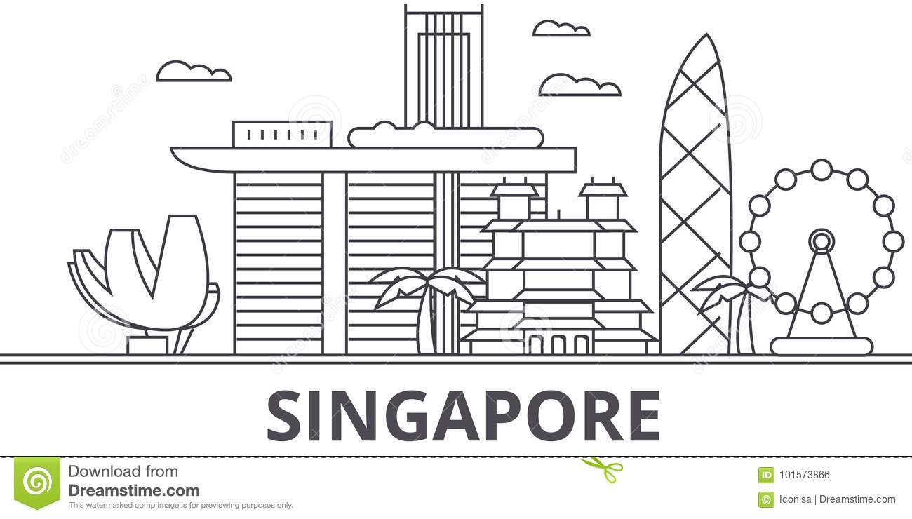 Singapore architecture line skyline illustration. Linear vector cityscape with famous landmarks, city sights, design