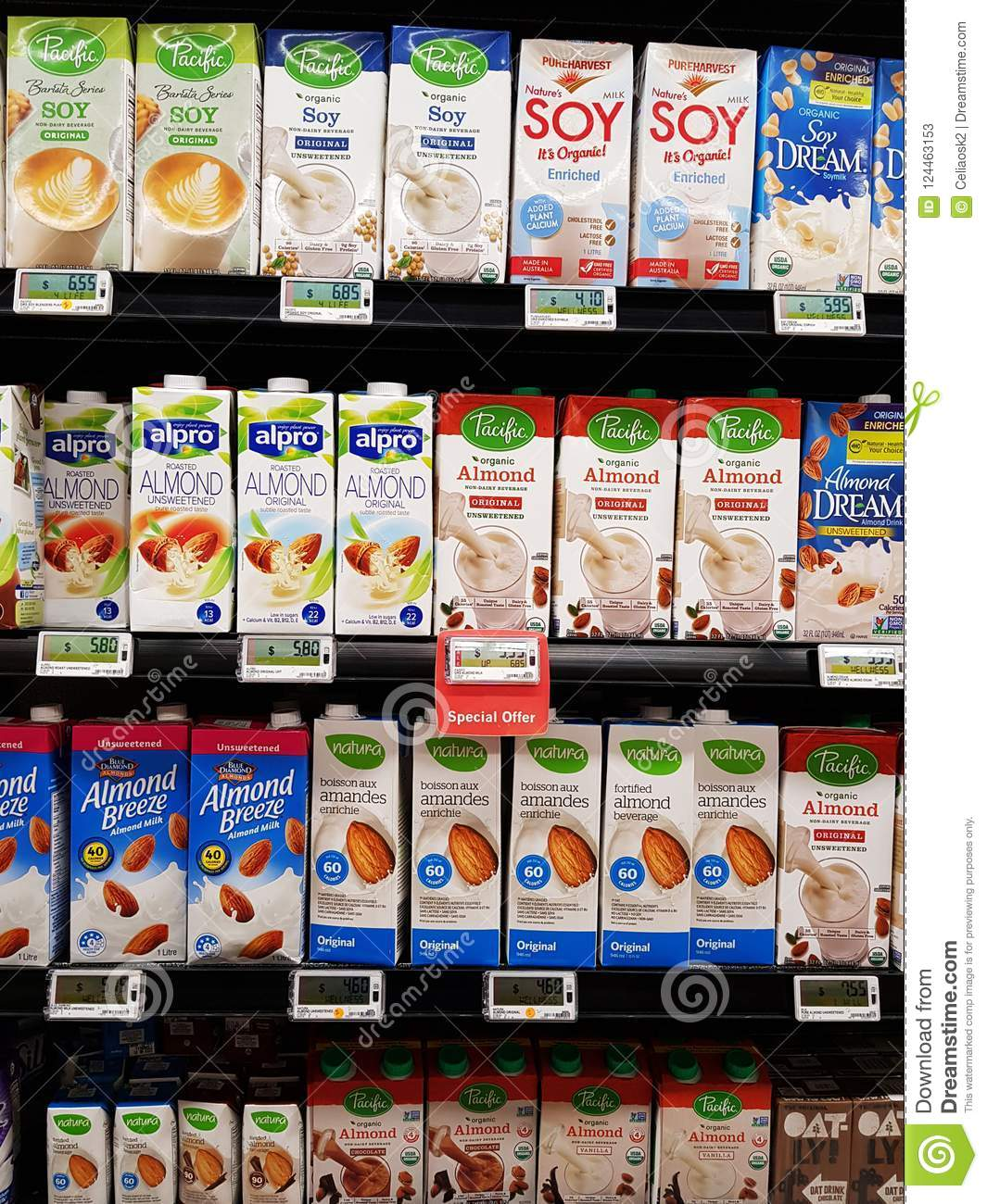 Different brands of Almond, Soy and Oat Milk
