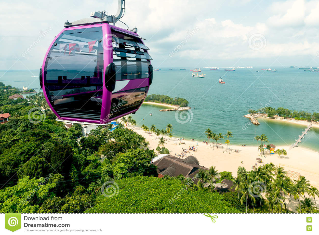 Singapore cable car in Sentosa island with aerial view.
