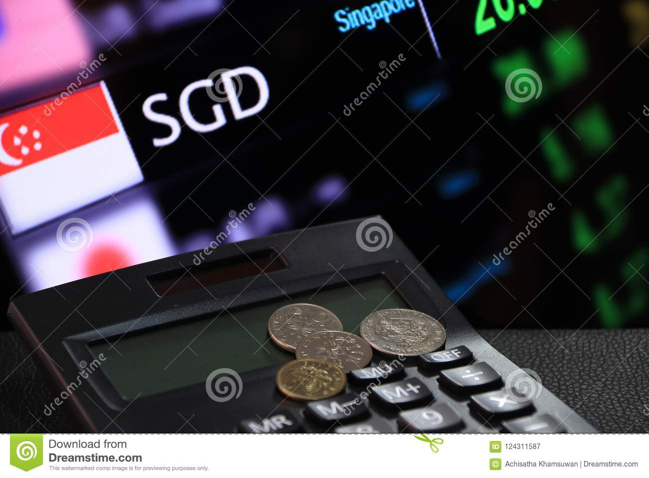 Singapore Cents Coin Sgd On Black Calculator With Digital Board Of Currency Exchange Money Background