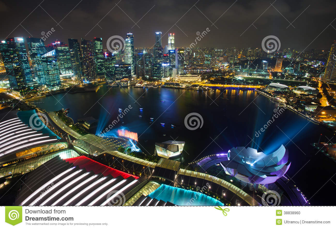 Singapore City At Night With Laser Show Editorial Image Image 38838960