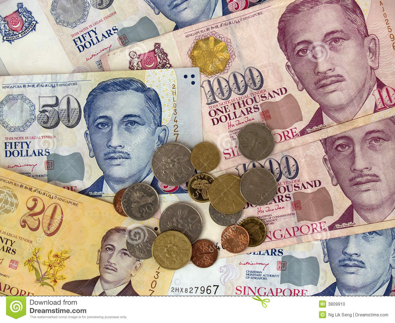 Singapore Currency Notes & Coins Stock Photo - Image of