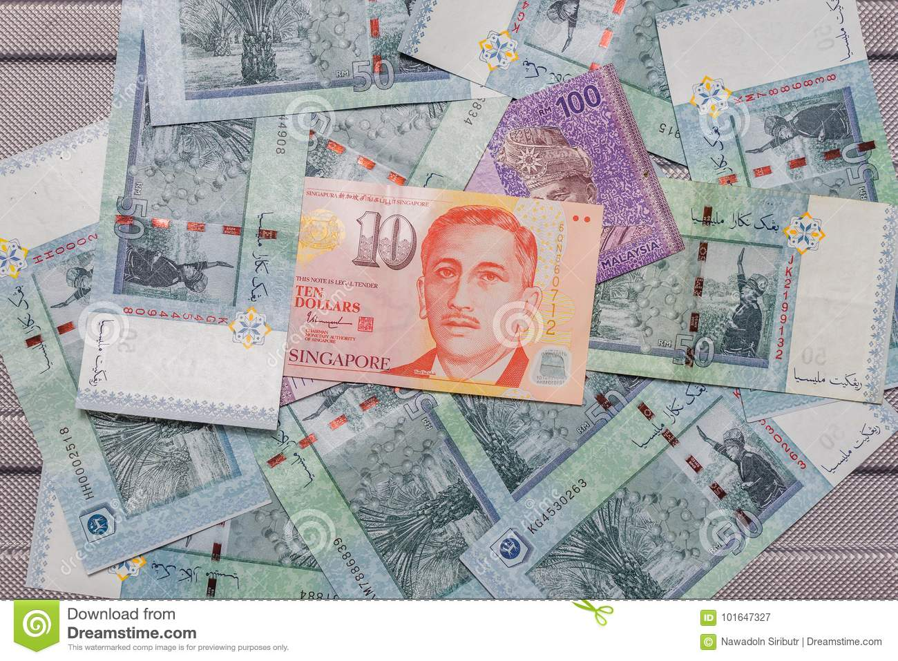 Singapore Dollar On Top Of Malaysian Ringgit Currency On