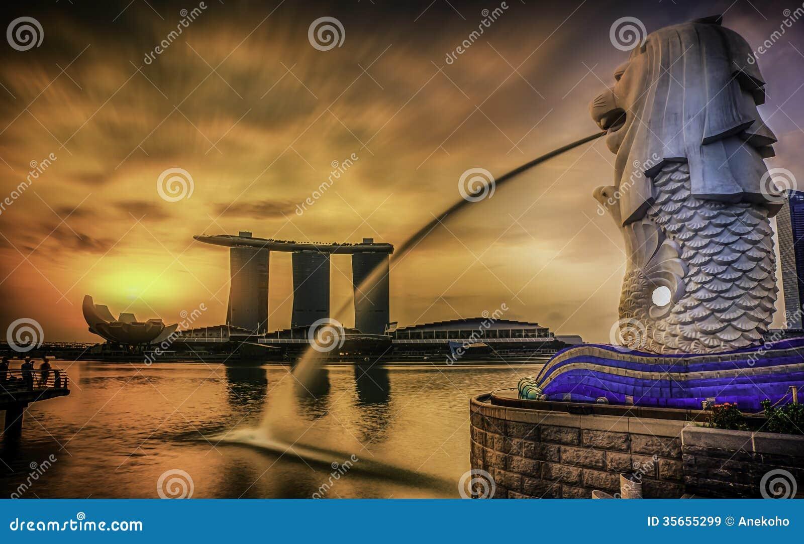 Singapore gränsmärke Merlion