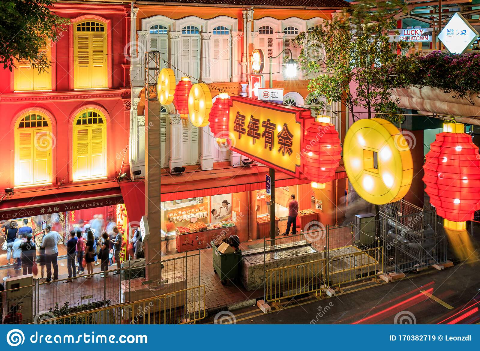 Singapore 22 Jan 2020 Singapore Chinatown Chinese New Year Street Decoration Light Night View Editorial Stock Image Image Of Festivals Chinese 170382719