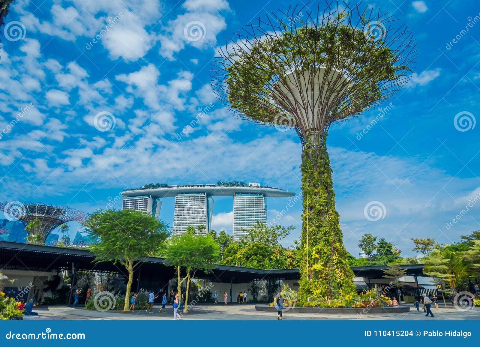 SINGAPORE, SINGAPORE - JANUARI 30, 2018: Niet geïdentificeerde mensen die onder een supertree met een Marina Bay-erachter gebouw