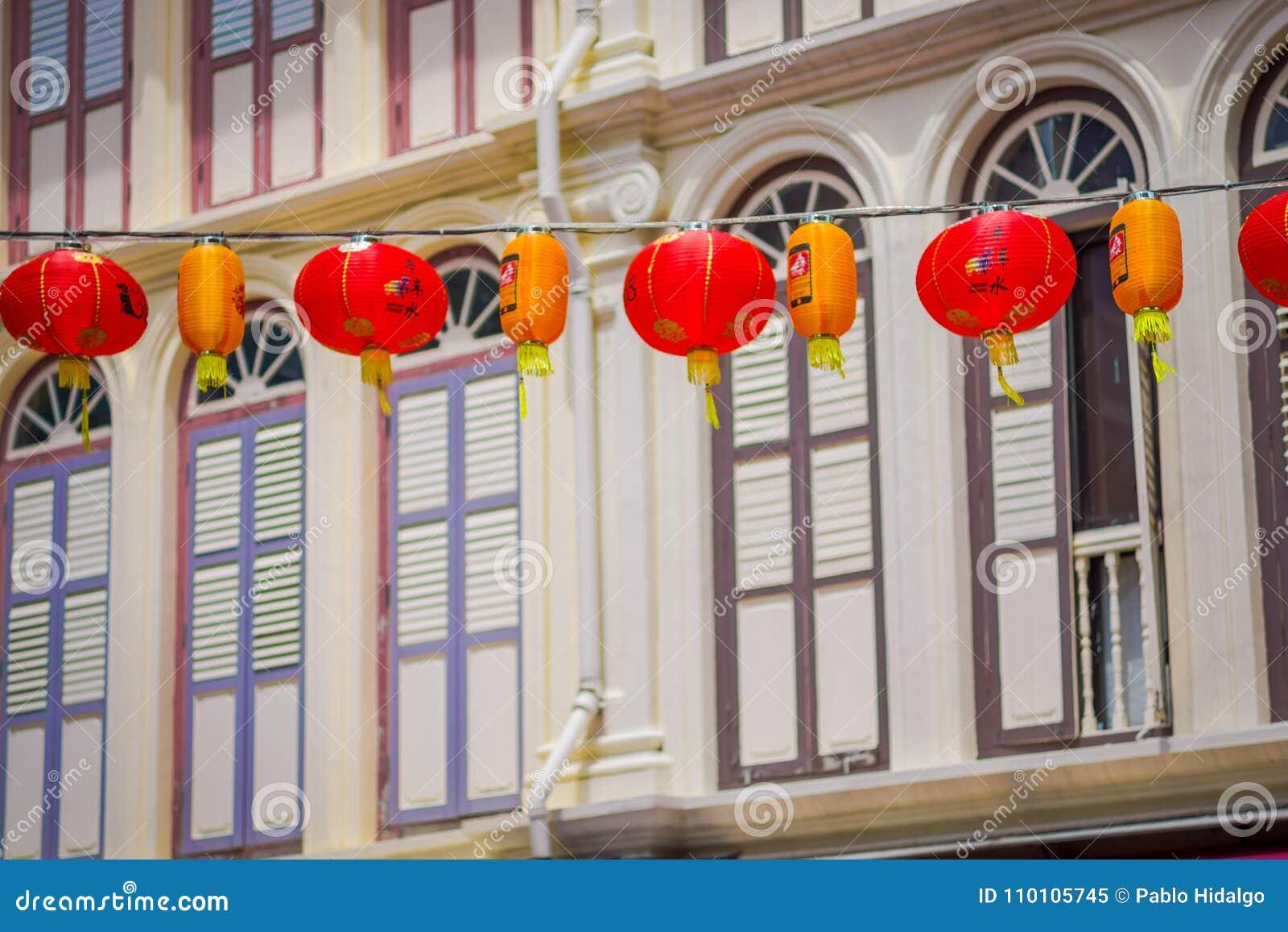SINGAPORE, SINGAPORE - JANUARY 30. 2018: Close up of decorative lanterns scattered around Chinatown, Singapore. China`s