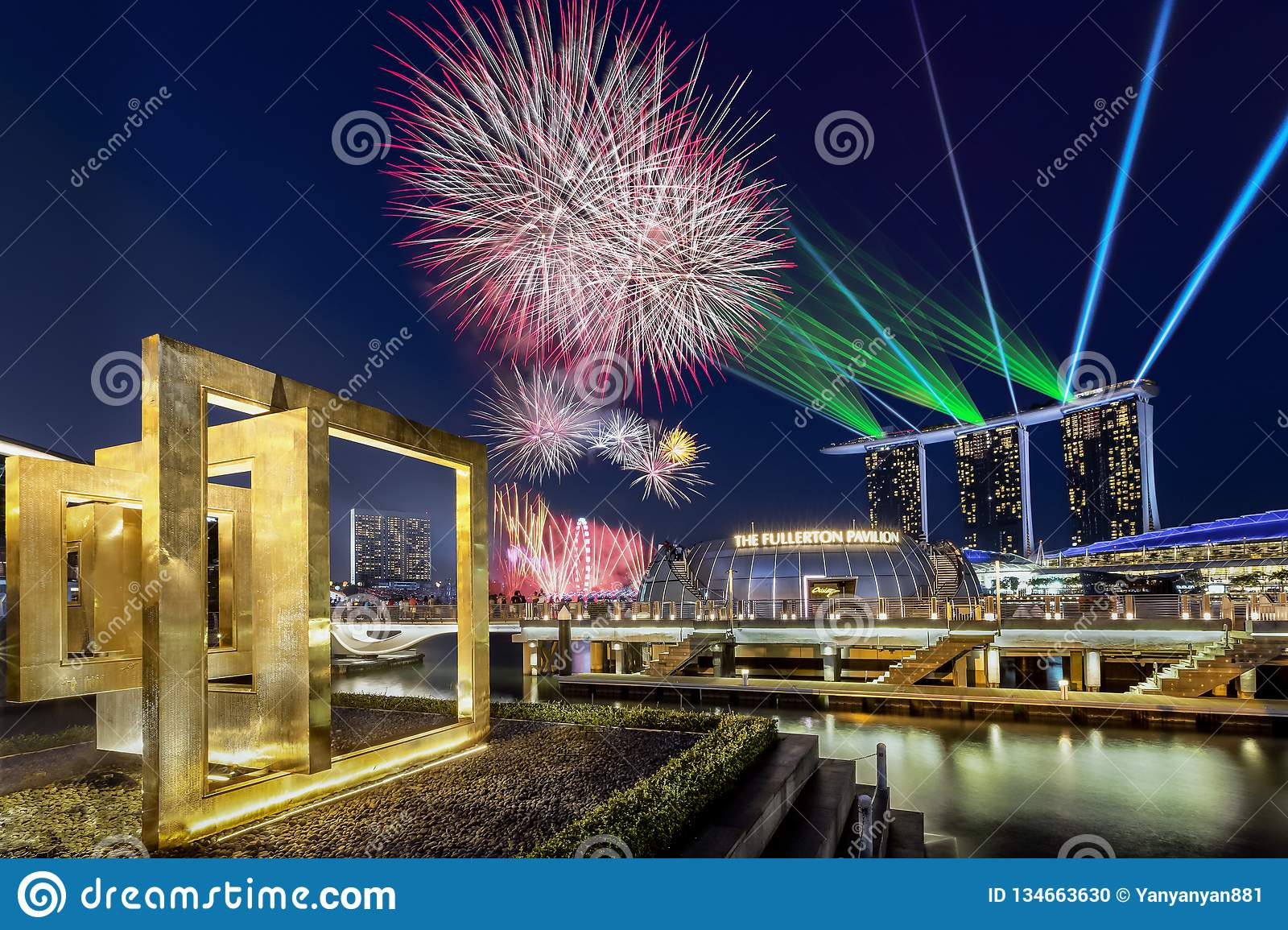 Beautiful fireworks display during National day parade in Marina Bay in Singapore