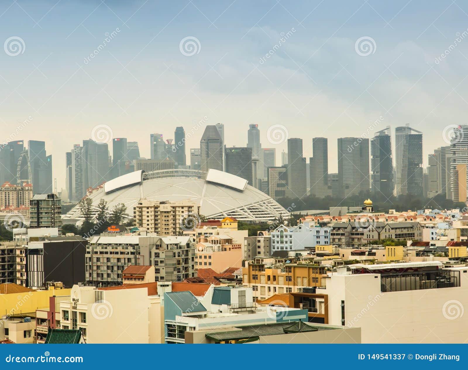 SINGAPORE-JUN 19 2017:Singapore central area beautiful skyline