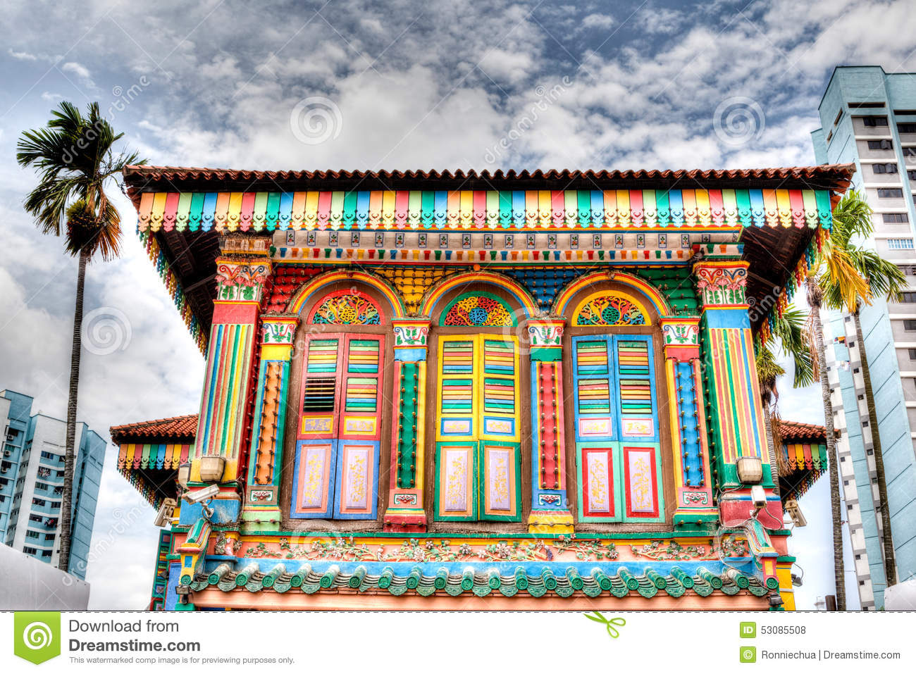 Singapore Landmark Colorful Building Facade In Little
