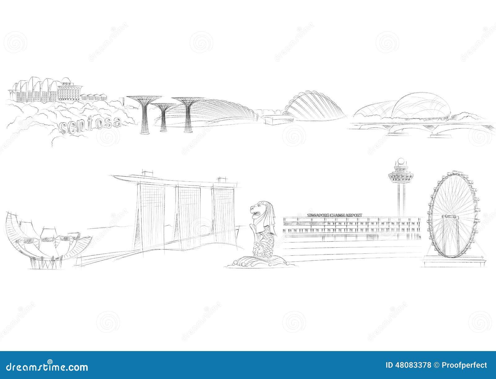 Singapore Landmarks Stock Vector Image 48083378