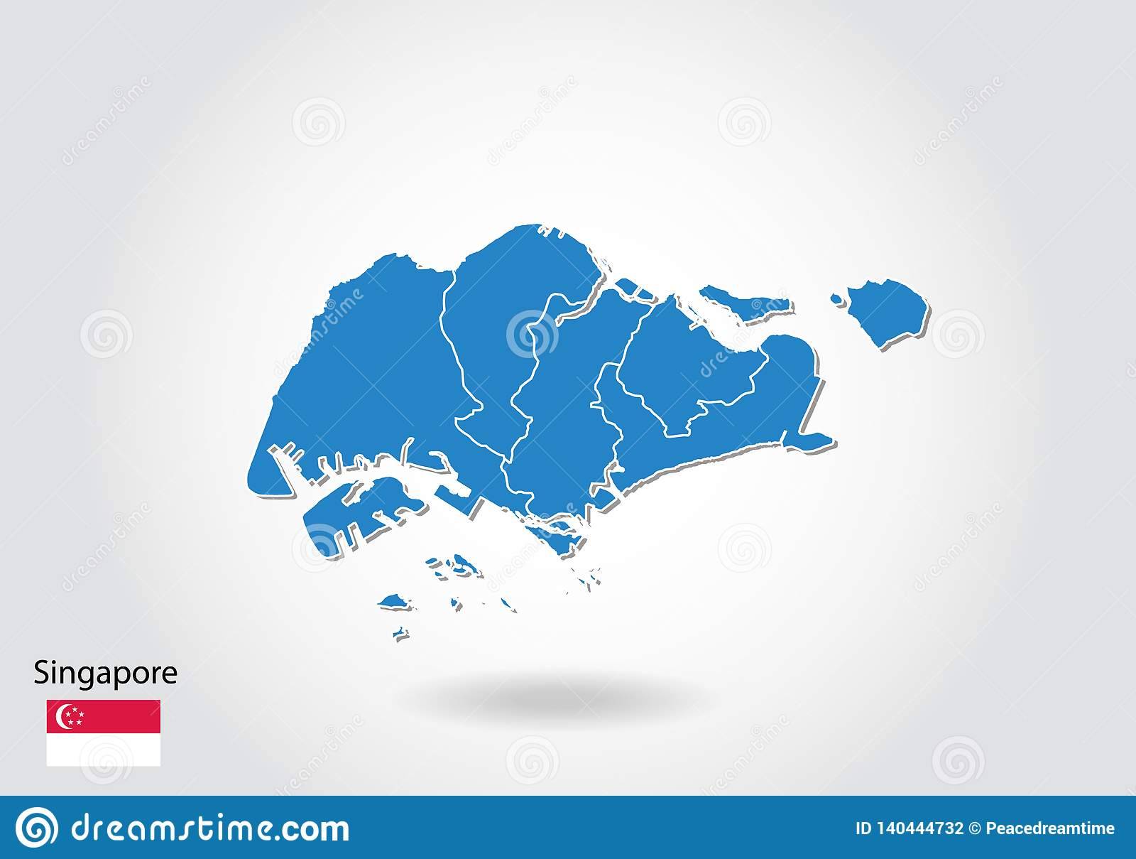 Singapore Map Design With 3D Style. Blue Singapore Map And National ...