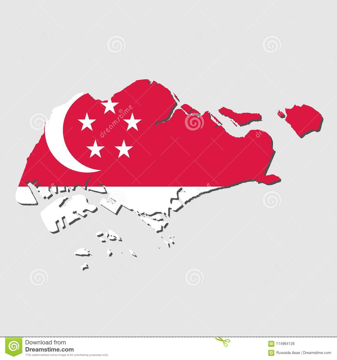 Singapore Map Flag,Singapore Map With Flag Vector Stock Vector ...