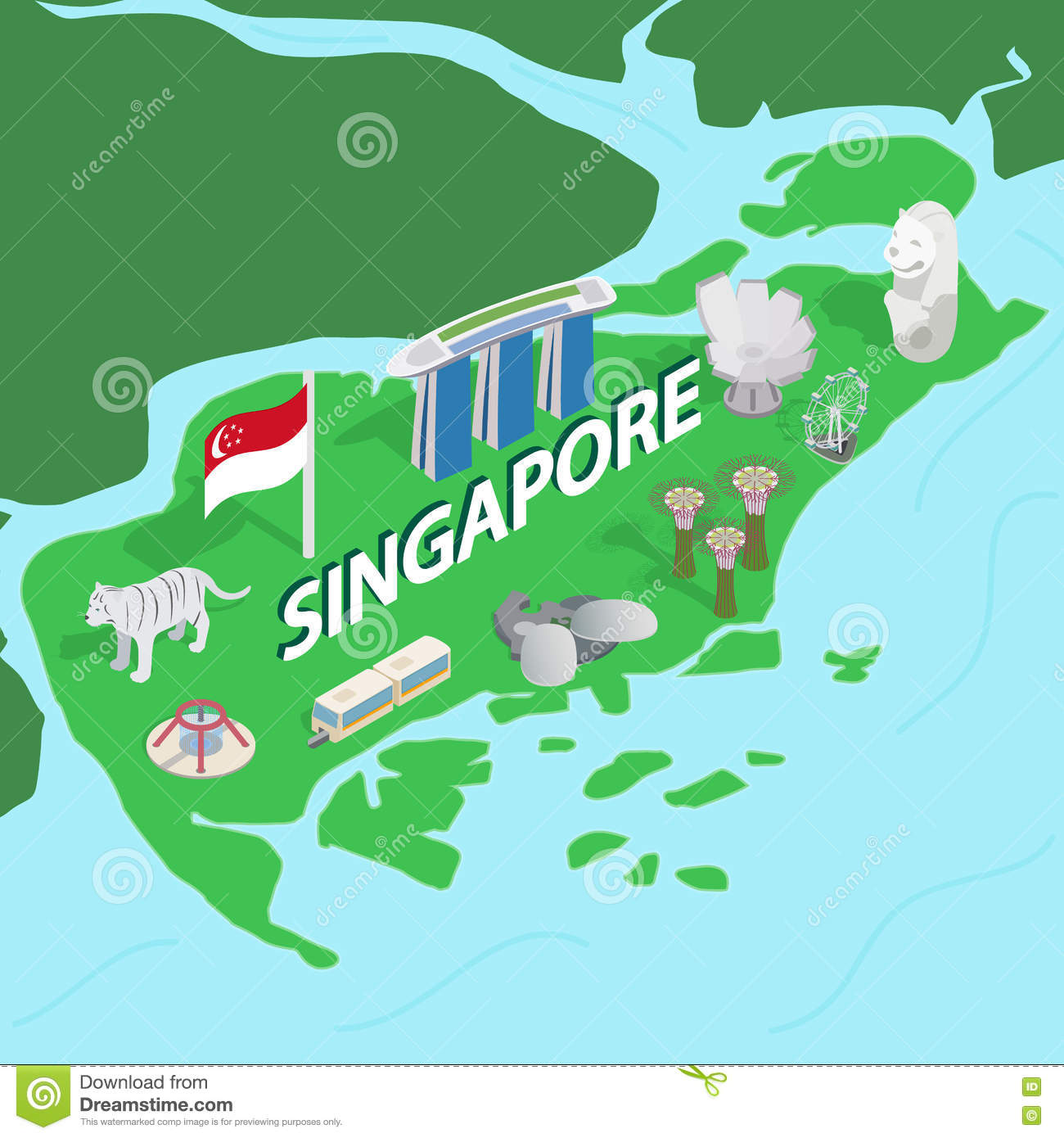 Singapore Map Isometric 3d Style Stock Vector Image 75228036