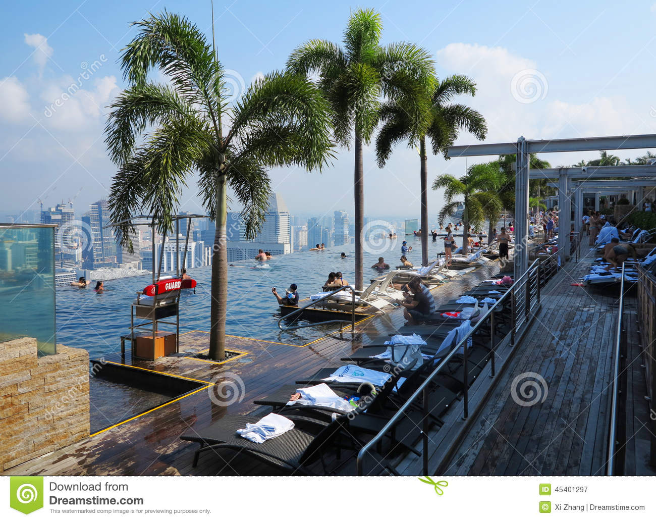 Singapore Marina Bay Sands Hotel Swimming Pool Editorial Photography Image 45401297