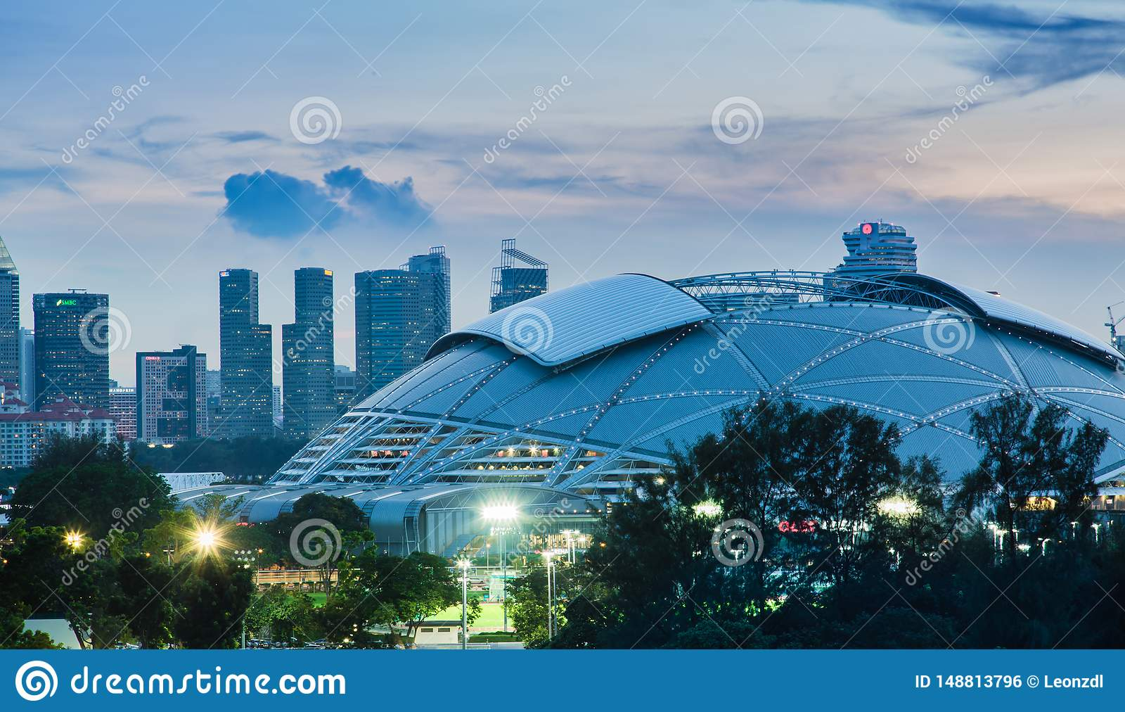 SINGAPORE-MAY 4 2017: Singapore central area skyline with new stadium