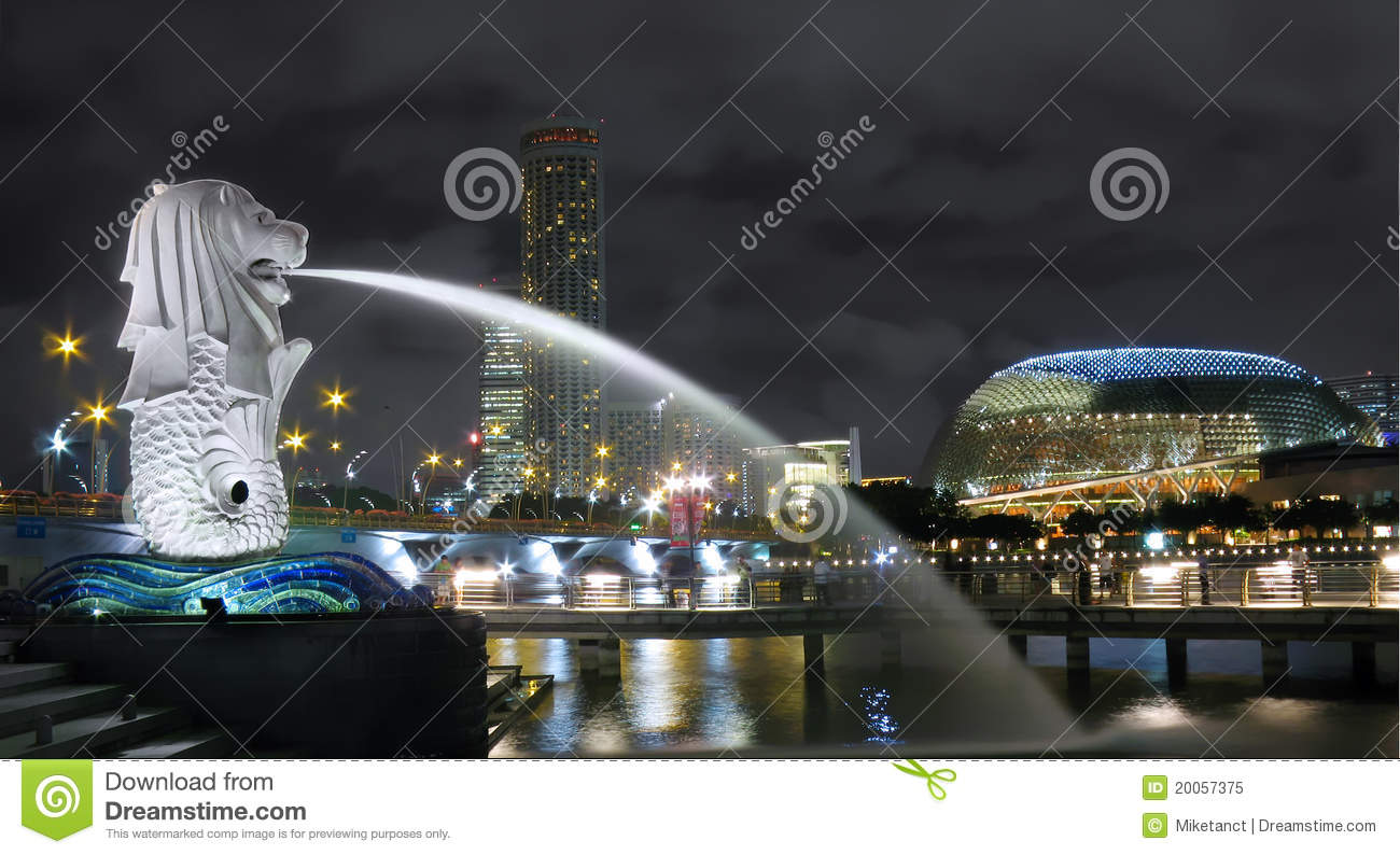 Singapore Merlion Cityscape