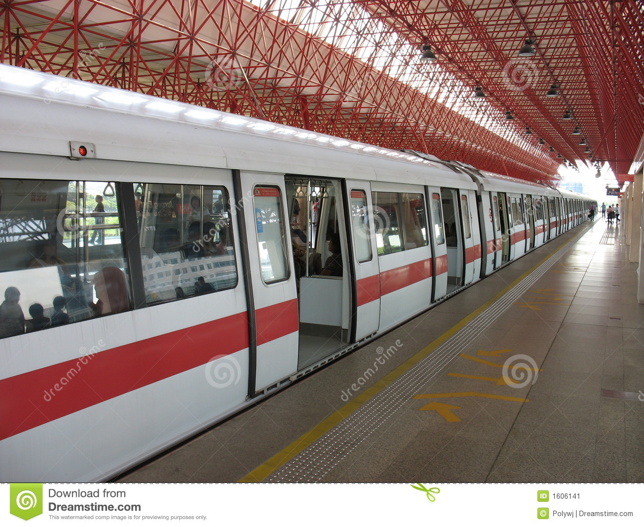 An MRT train stopping at the Jurong East station in Singapore.