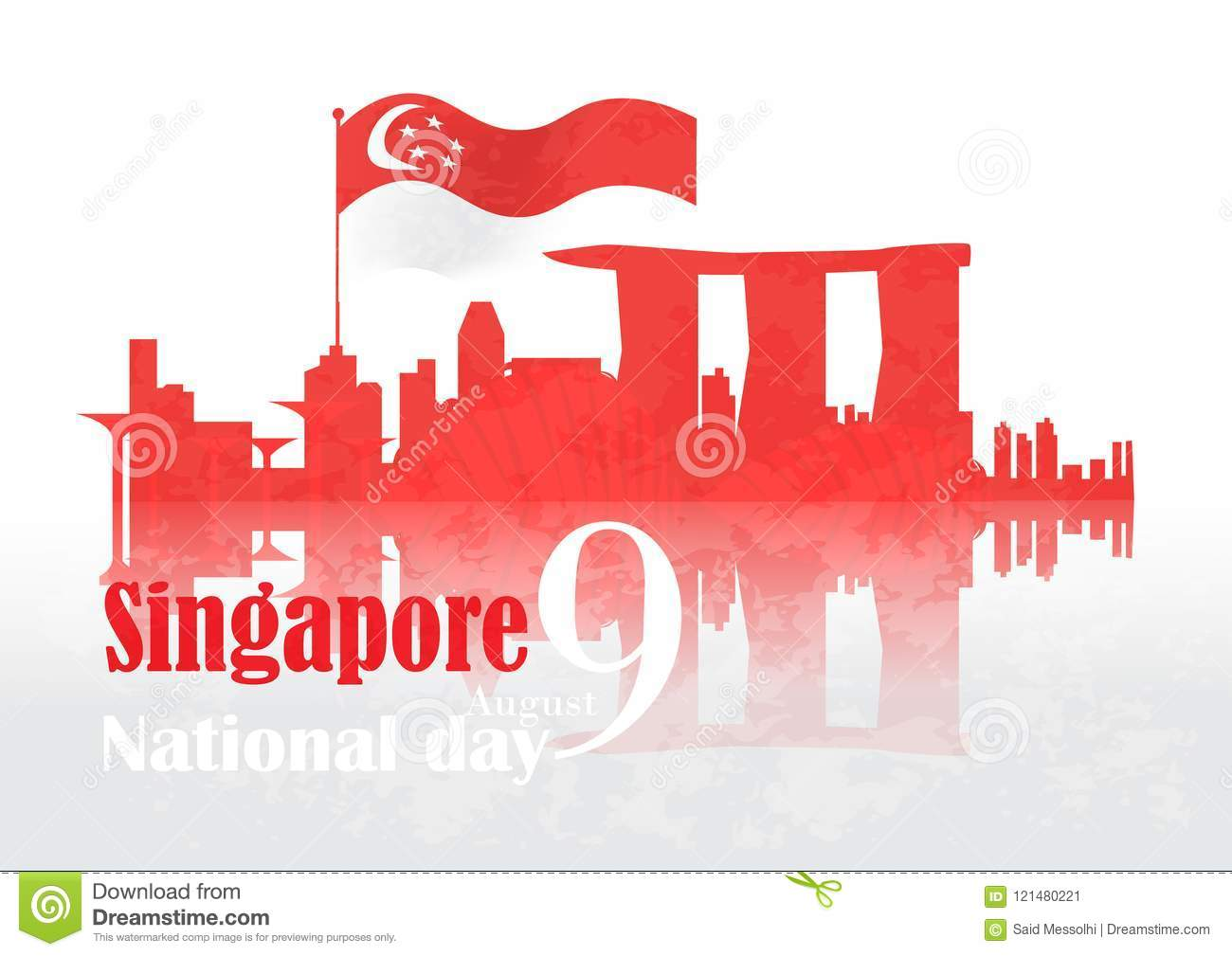 Singapore National Day Background Stock Vector Illustration Of