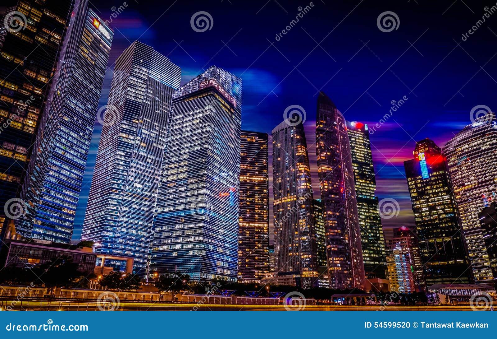 Singapore night city scape,Marina bay.