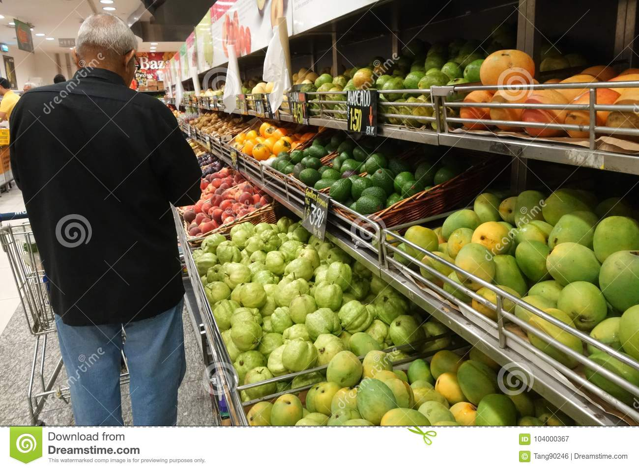 Man Buy Local Fruits From A Rack In A Shop Editorial Photography