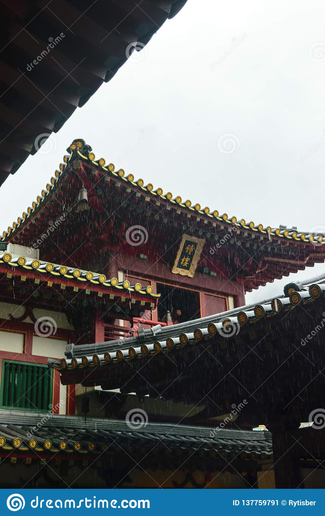 Singapore - 14 OCT 2018. The Buddha Tooth Relic temple and museum during cloudy and rainy day in Chinatown district