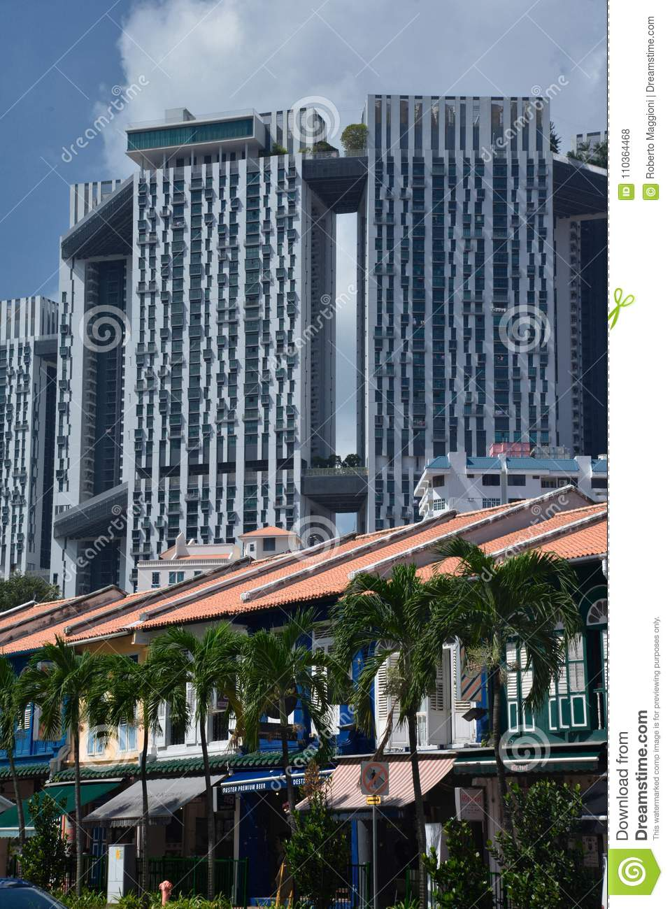 Singapore Old City Houses Facades And Modern Architecture Editorial