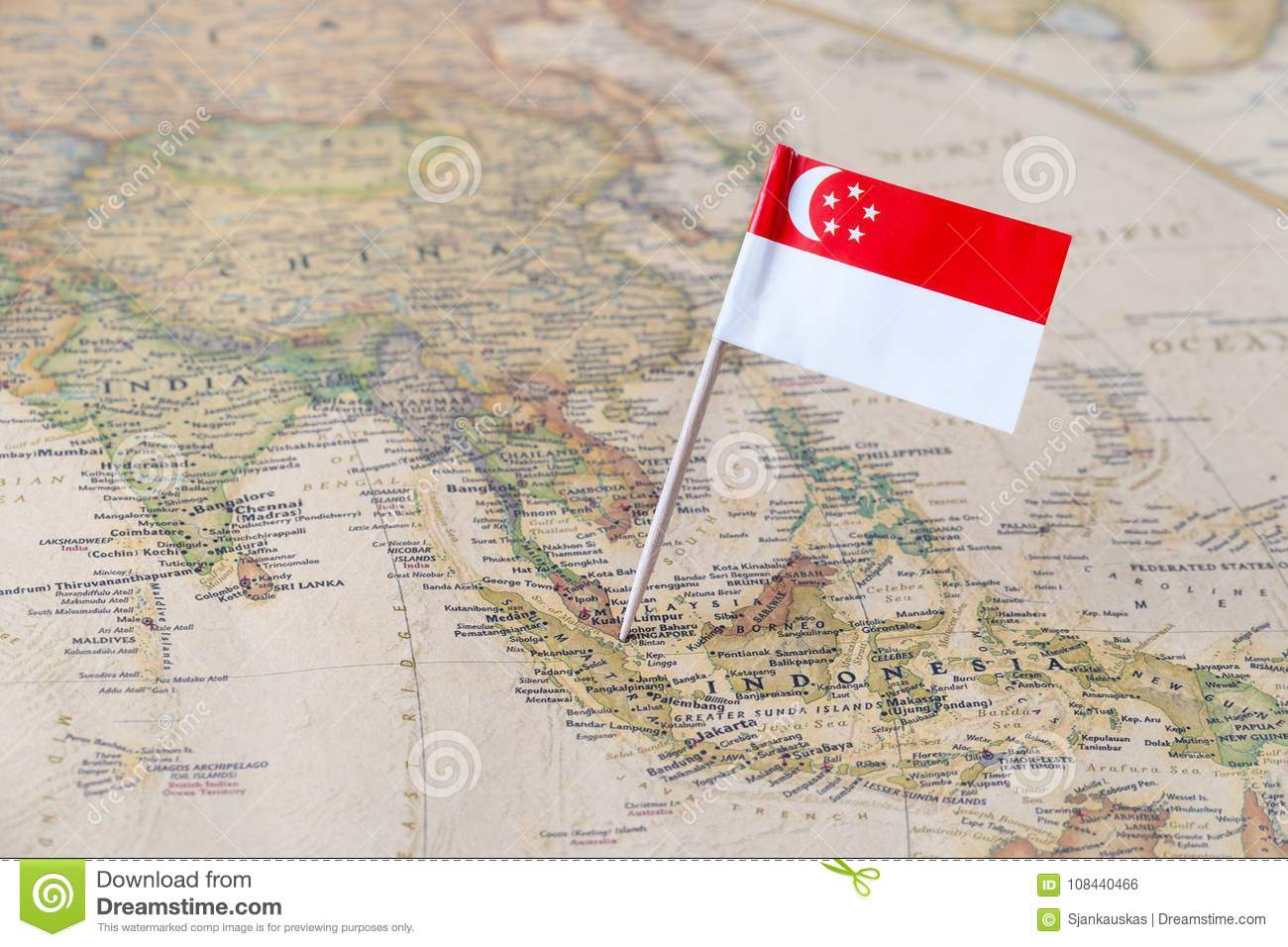 Singapore Flag Pin On A World Map Stock Photo Image Of Democratic