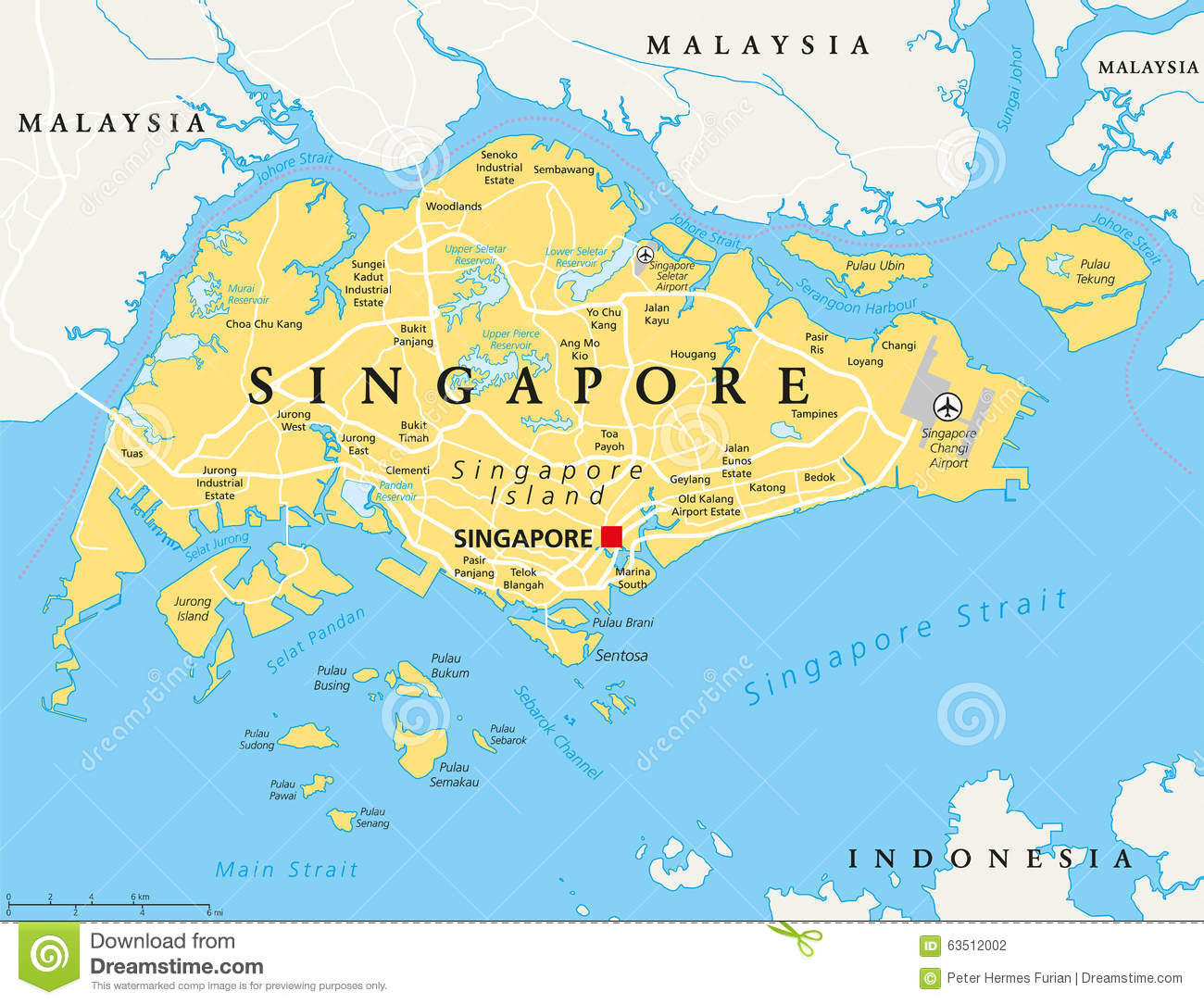 Singapore Political Map Stock Vector Image 63512002