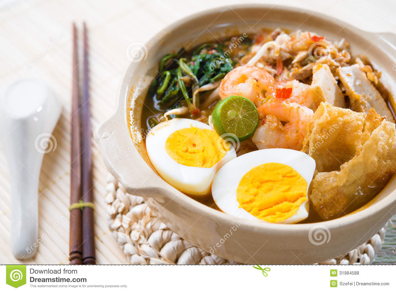 Singapore prawn mee stock photo image of ingredients for Asian cuisine singapore